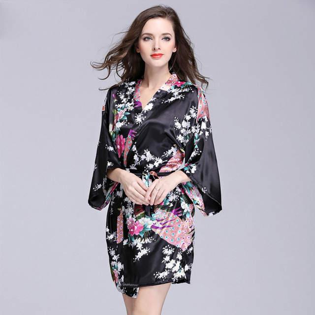Online Shop Women s Kimono Robe Knee Length Bathrobe Thin Luxury Sexy  Lingerie Sleepwear Short Satin Nightwear Bridesmaid Robes Female gift  e4640beb6