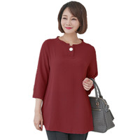 Womens Tops and Blouses Summer Middle aged Loose Big Female Mother Solid Color Shirt Plus Size 5xl Clothing