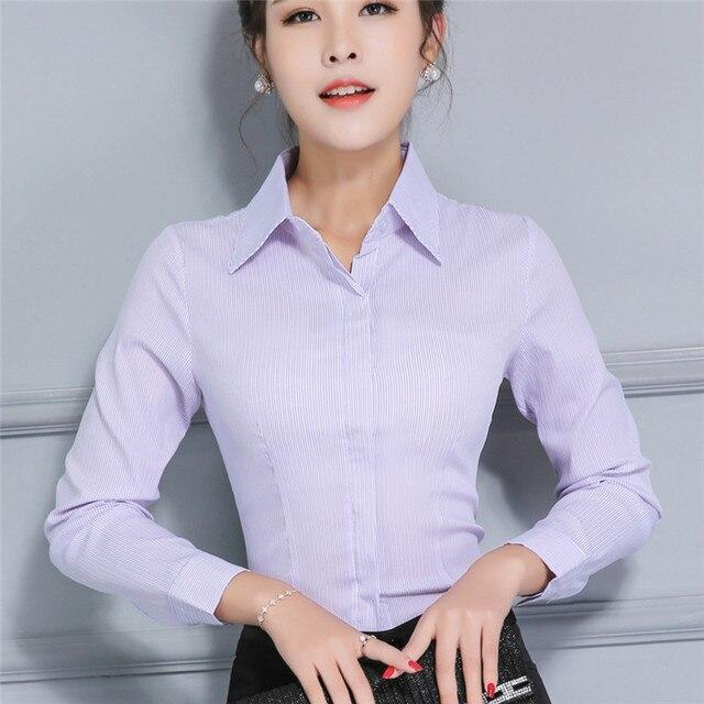De las mujeres Más Tamaño Camisa De Popelina Stretch Shirts Oficina del  Otoño del Resorte Más 3050fb0e990