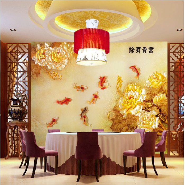 Custom Environmental 3D stereoscopic large mural wallpaper living room sofa TV backdrop Chinese-style fish wealth good luck custom 3d stereoscopic large mural wallpaper wall paper living room tv backdrop of chinese landscape painting style classic