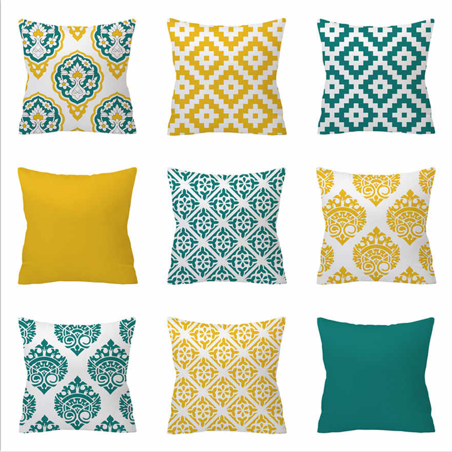 Green Yellow Geometric Cushion Cover Home Decor Velvet Pillow Cover For Sofa 45*45cm Decorative Chevron Pillows Case Pillowsham