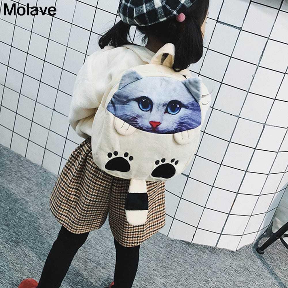 6. nov.20 molave mochila crianças saco de moda gato dos desenhos animados mochila jardim de infância crianças bonito saco de escola para crianças