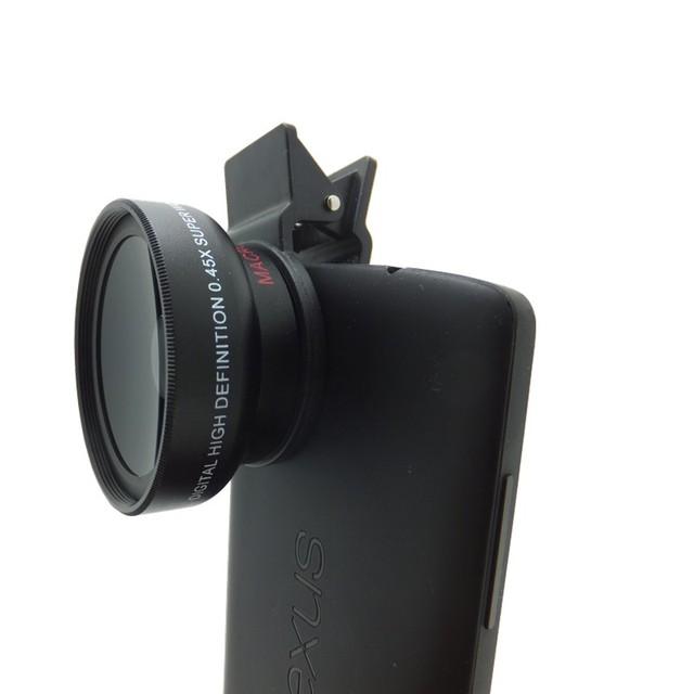 Universal profesional SLR HD 37 MM buena calidad de la lente de teléfono móvil, con GRAN angular y Micro/Macro 2 en 1 clip para iphone6