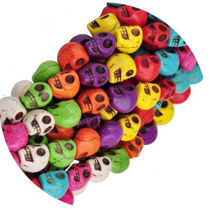 8mm 50pcs/lot Cheap Hot Beads Colorful Skull Natural Stones Round Spacer Loose Beads For Necklace Bracelet Charms Jewelry Making