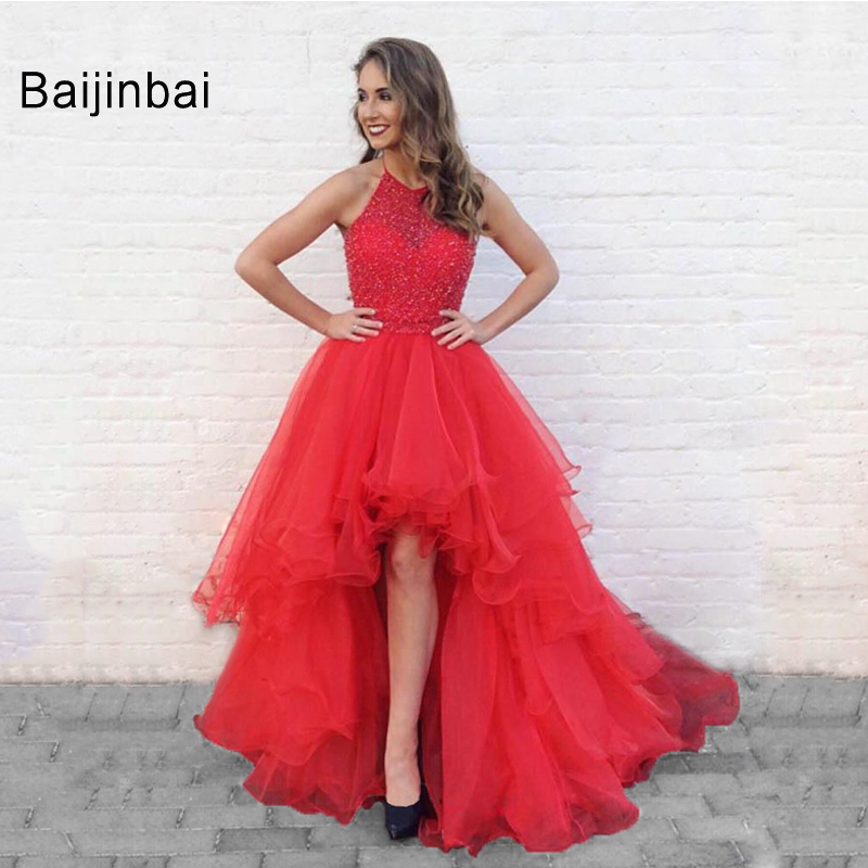 Floor Length Prom Dresses 2019 High Quality Halter Sleeveless Short Front Long Back Tiered Backless Ball