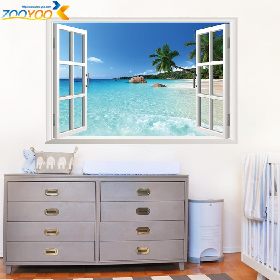 3d window frame whole view stickers zooyoo1430 wall mural wall art ...