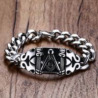 Mens Freemasons Bracelets 316L Stainless Steel Vintage Silver Black Curb Chain Biker Punk Masonic Symbol For