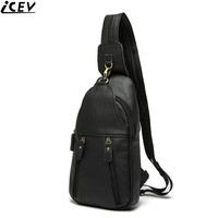 ICEV new vintage shoulder bag genuine leather men's chest bags high quality 100% cow leather male messenger handbag famous brand