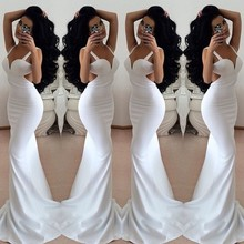 High Quality Vestidos De Festa 2015 Sexy Party Gowns Chiffon V-Neck Sleeveless Backless 2016 Fashion White Mermaid Evening Dress