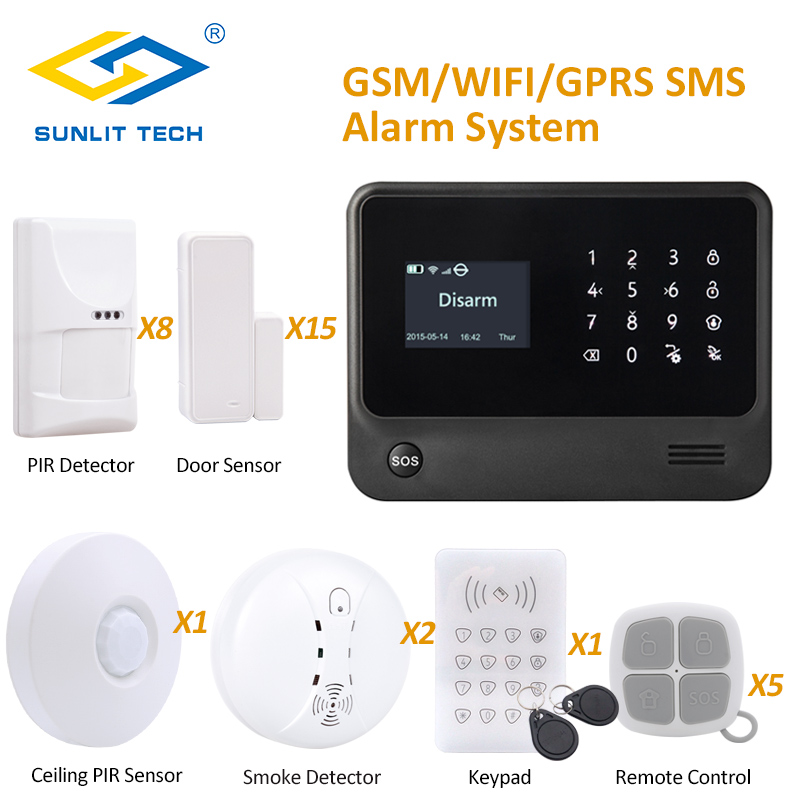 IOS Android App Control Wireless Alarm Systems Security Home with Pet Immune PIR Sensor Smoke Sensor and RFID Keypad