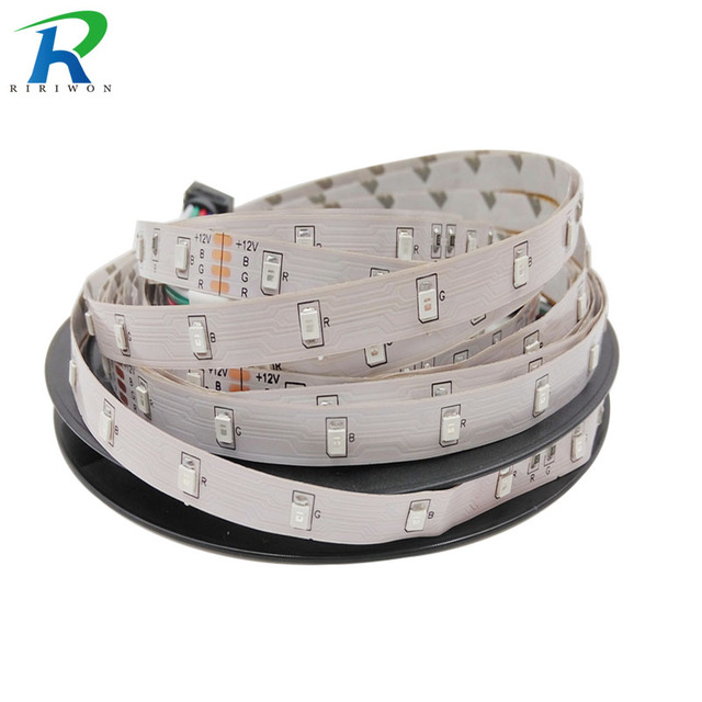 RiRi won smd RGB single led strip light DC12V flexible 5m 3528 smd led light led tape ribbon no waterproof 5m/roll no adapter