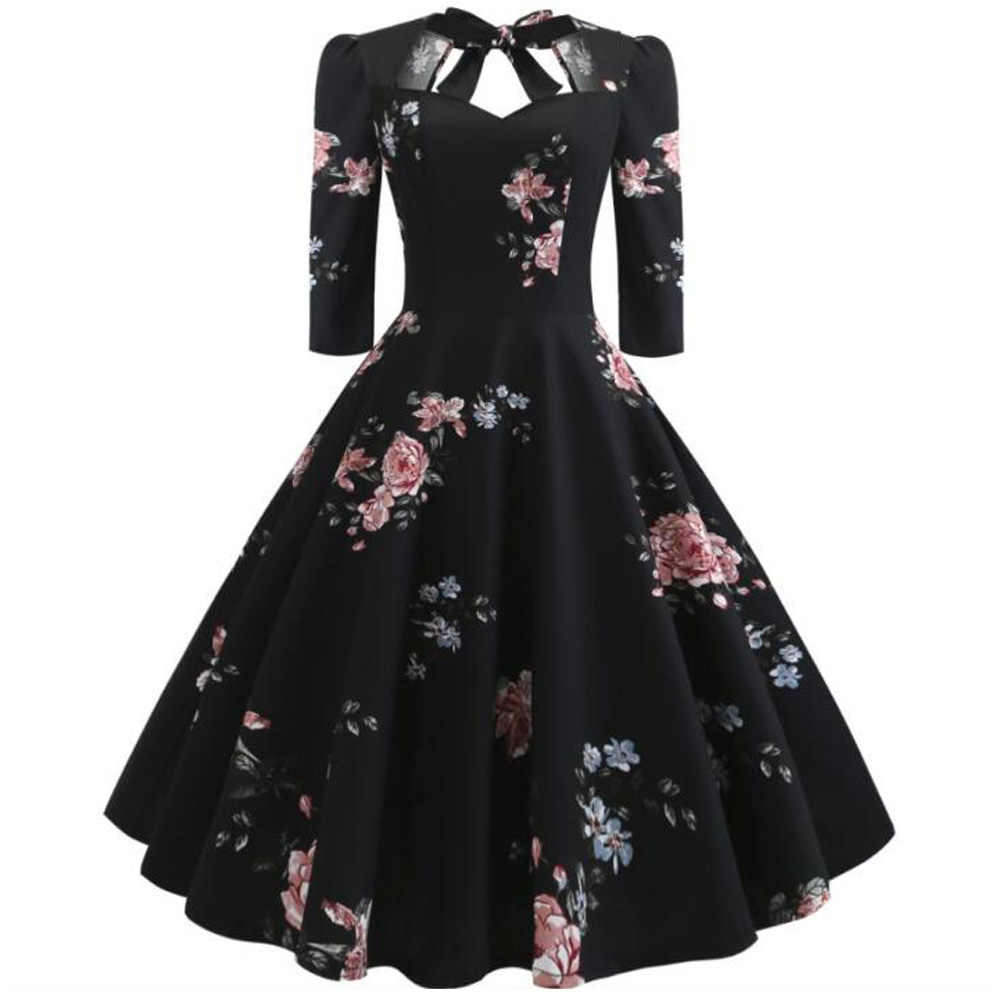 2019 Floral Print Summer Dress Half Sleeve Audrey Hepburn 50s Vintage Dress Bowknot Big Swing Rockabilly Party Dresses Vestidos