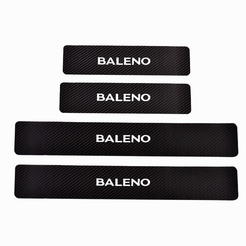 Carbon Fiber Pu Leather Car-Styling For Suzuki Baleno Door Threshold Plate Car Door Sill Step Plate