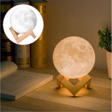 LED Moon Lamp 3D Print 2 Colors Change For Decoration Creative Gift USB Night Light