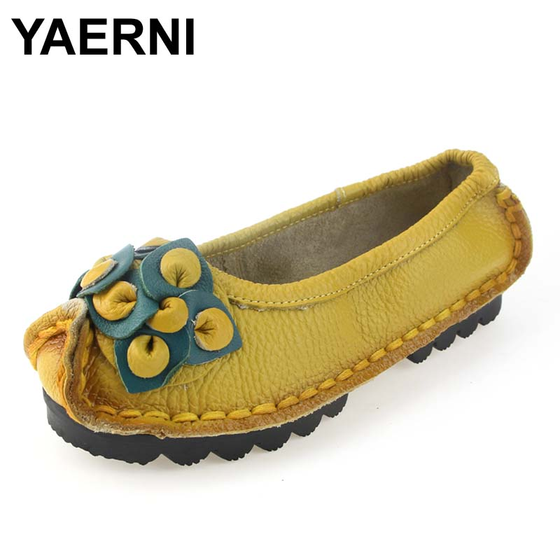 YAERNI Handmade Autumn Women Genuine Leather Shoes Cowhide Loafers Real Skin Shoes Folk Style Ladies Flat Shoes For Mom sapato original handmade autumn women genuine leather shoes cowhide loafers real skin shoes folk style ladies flat shoes for mom sapato
