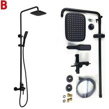 Dofaso oil black bathroom shower Black finish dual hand sets wall mount bath faucet with slide bar