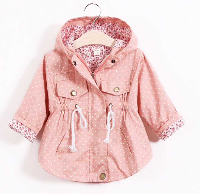 2015 New Baby Girl Jackets Polka Dot Print Girls Cotton Coats ...