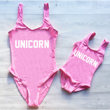 Summer Mother Daughter Unicorn Letter printed Bathing suit