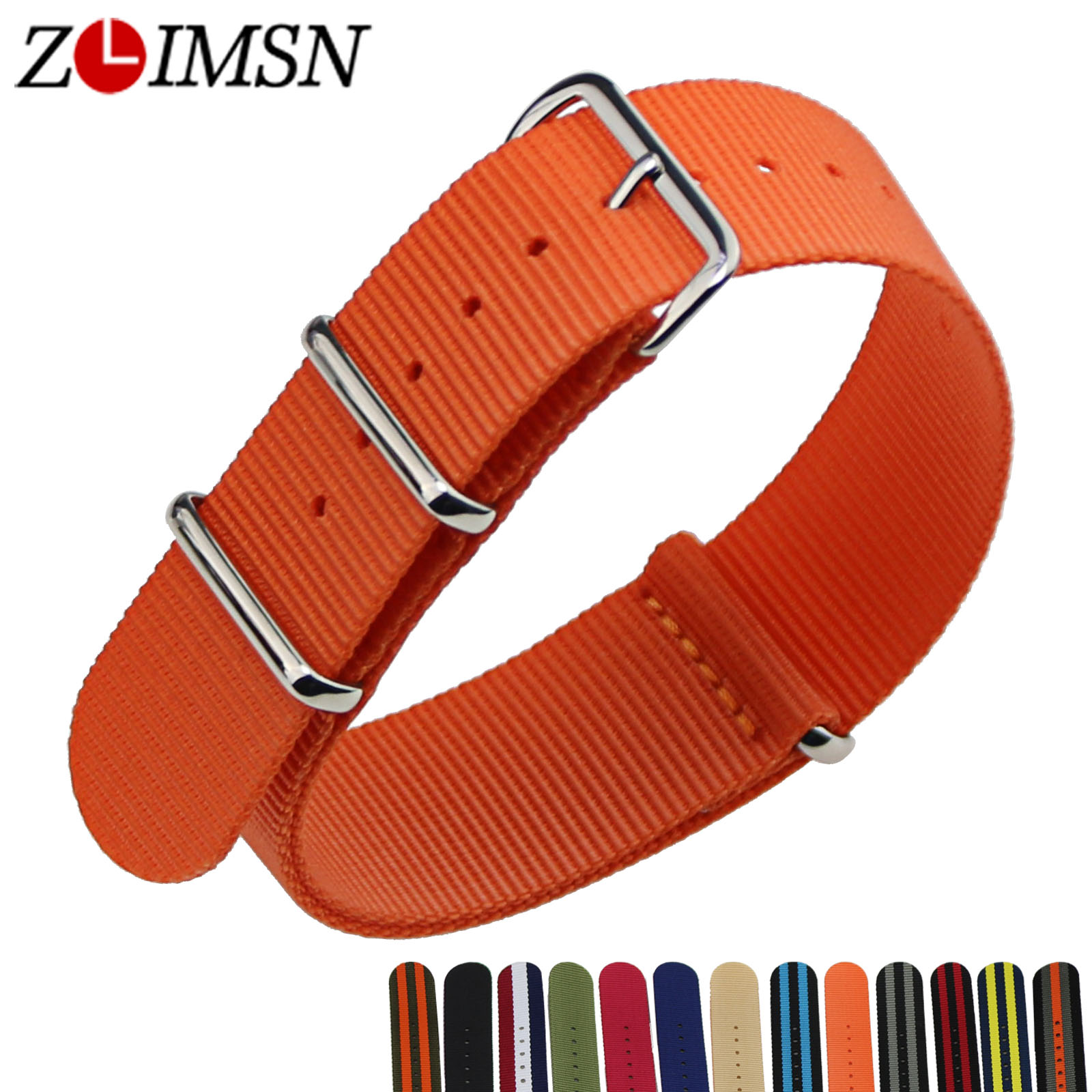 ZLIMSN 5pcs/lot Nato Nylon Strap Watchband Watch Belt Silver Metal Buckle Watches Accessories Relojes Hombre 2017 18 20 22 24mm