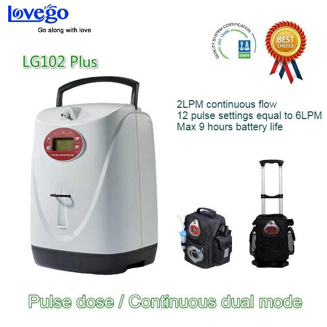 8 часов автономной работы 2 в 1 импульса и непрерывный поток новый Lovego портативный концентратор кислорода lg102s для 6lpm кислорода терапия