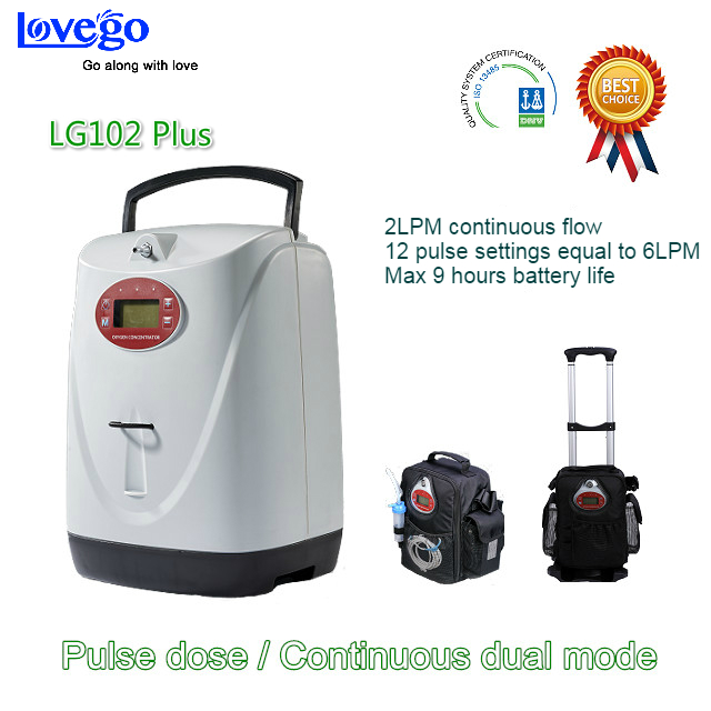 8hours battery 2-in-1 Pulse and Continuous Flow New Lovego portable oxygen concentrator LG102S for 6LPM oxygen therapy цена