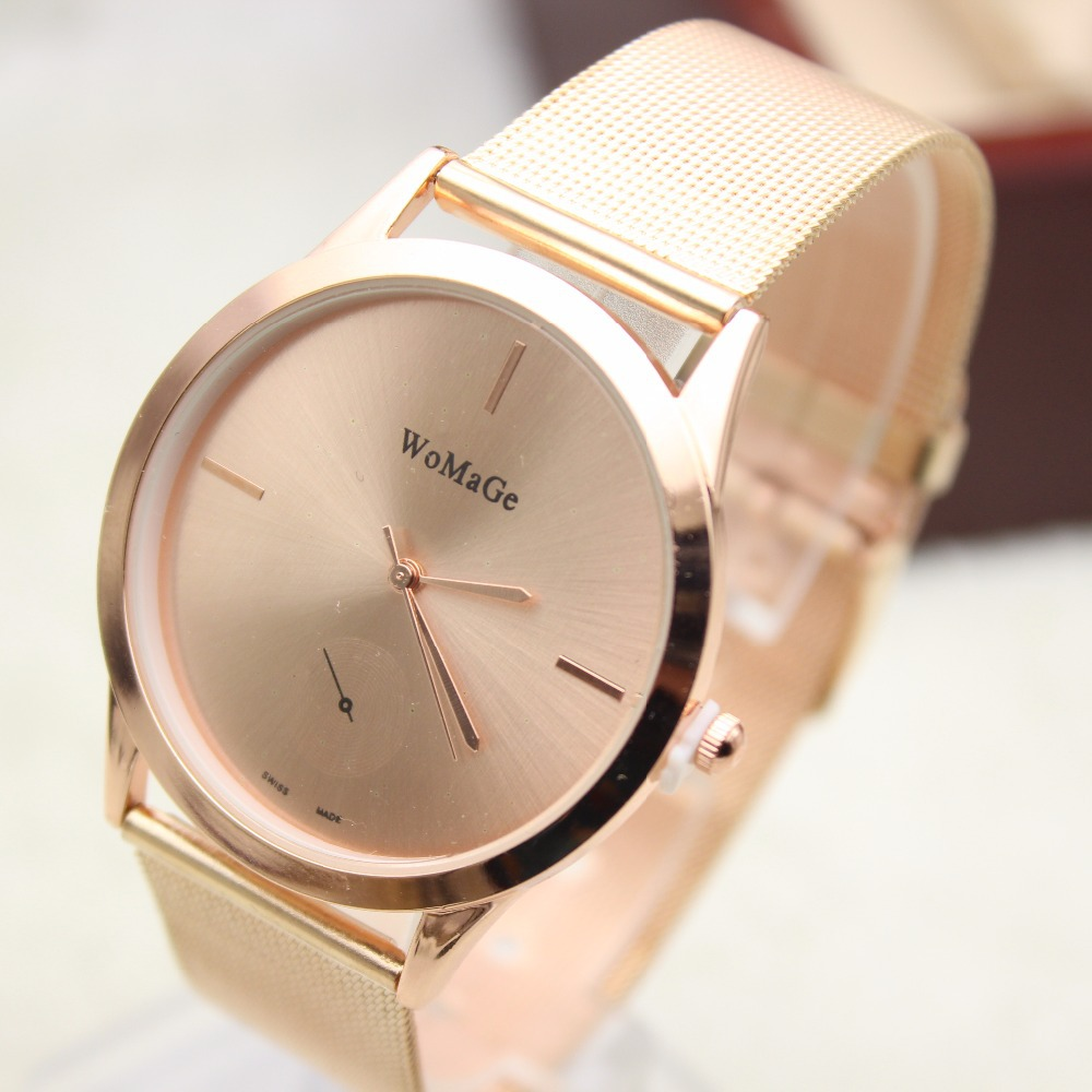 women watchesThe new brand of high-quality rose gold and silver metal mesh casual simple stainless steel quartz watch