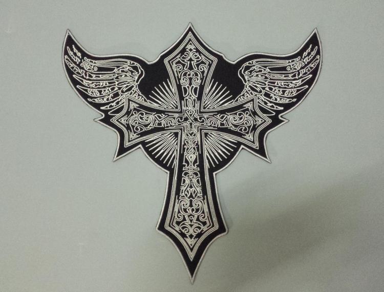 Hatalmas repülõ kereszt angyal szárnyak Nagy hímzésrekeszek Motorkerékpár motoros kabát hátsó MC 33cm * 32,5 cm