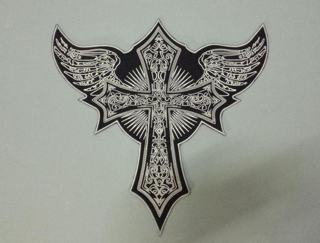 Huge Flying Cross Angel Wings Large Embroidery Patches Motorcycle