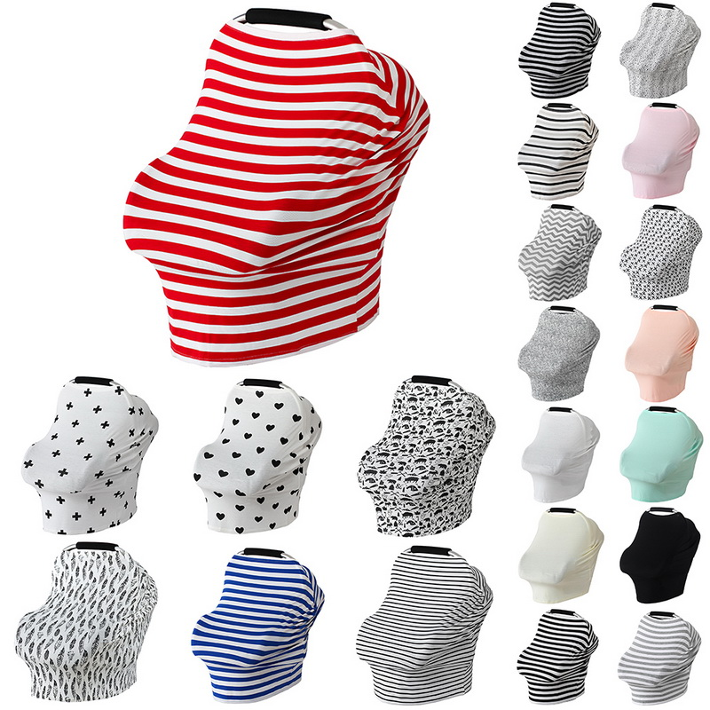 Oeak Baby Car Seat Cover Canopy Nursing Cover Multi-Use Stretchy Infinity Scarf Breastfeed