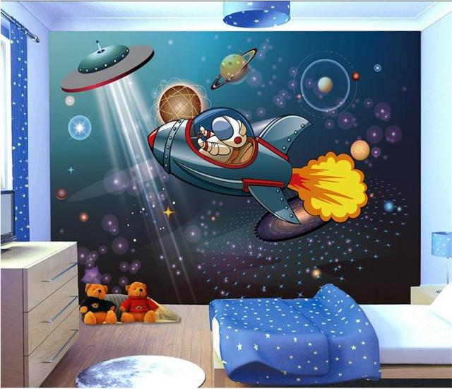 Delightful 3d Room Wallpaper Custom Murals Non Woven Wall Sticker Space Shuttle  Astronaut Boy Painting Photo