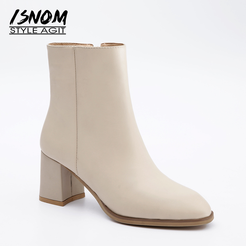 ISNOM Genuine Leather Women Boots Autumn Fashion Round Toe Ankle Boots Shoes Short Plush 2018 Winter Thick High Heels Footwear women genuine leather spring autumn ankle boots short plush inside for winter short boots fashion round toe boots 6