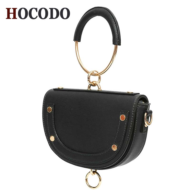 HOCODO New Simple Saddle Bag Quality Luxury Handbag Crossbody Bags For Women 2018 Fashion Mini Shoulder Bag Ring Hoop Handbag