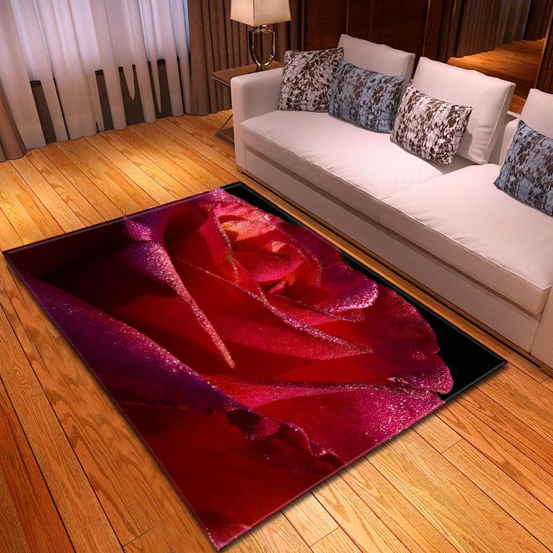 3D romantique Rose fleur grand tapis pour salon enfant jouer tapis de sol Floral couloir anti-dérapant zone tapis couverture décor à la maison