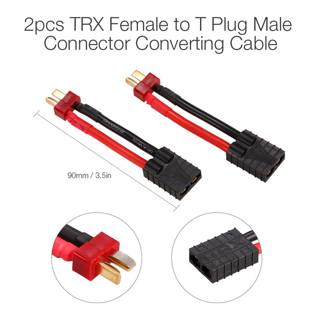 2pcs female trx connector to male deans t type plug ultra. Black Bedroom Furniture Sets. Home Design Ideas