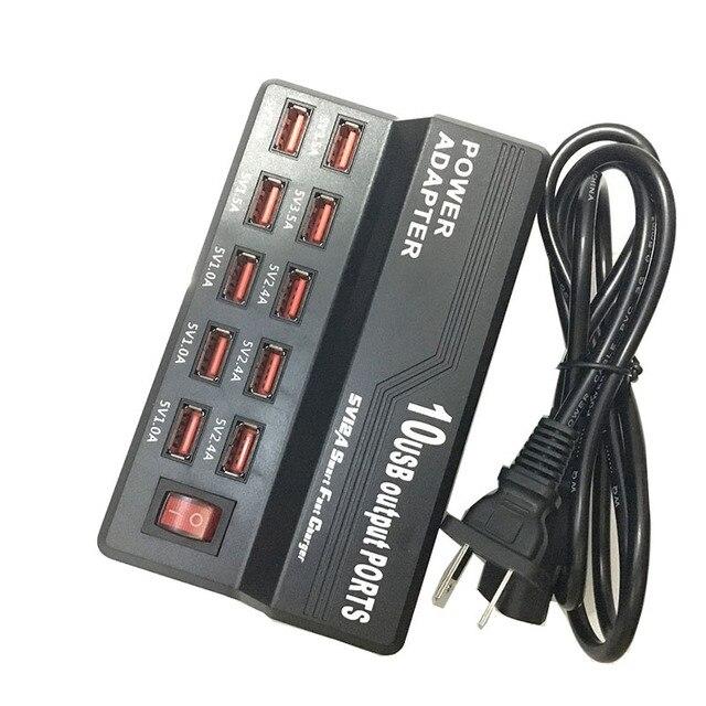 Зарядное устройство с несколькими портами 10 USB, 12 А, мощность 60 Вт, быстрая зарядная станция для iPhone 7, 5, 5S 6, 6S Plus, iPad, LG, Samsung, Huawei, Nexus, адаптер переменного тока