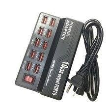 Multi porto carregador 10 usb 12a power 60 w estação de carga rápida para iphone 7 5 5S 6 s mais ipad lg samsung huawei nexus ac adaptador