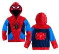 ¡ Venta caliente! 2016 Otoño Y el Invierno Nueva Moda Niños Spider Man Cartoon Spiderman Abrigos Niños sudaderas con capucha de la Chaqueta de Abrigo Para Niños