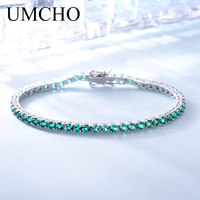 UMCHO Luxury Created Nano Green Emerald Gemstone Bracelet Real 925 Sterling Silver Bracelets & Bangles Romantic For Women Gifts