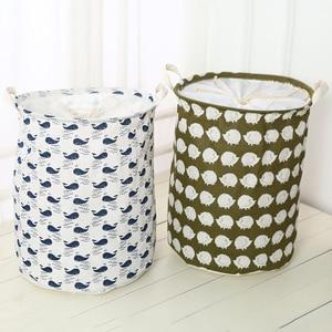 Image 1 - 2019 New Organizer Clothes Storage Large Beam Hamper Fabric Cotton Linen Laundry Basket Cartoon Tree Hedgehog Toy Storage