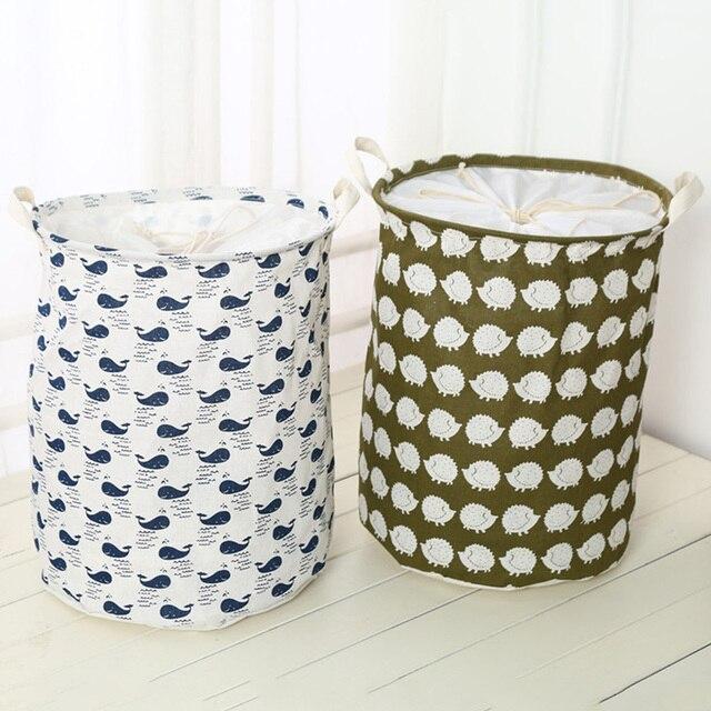 2019 New Organizer Clothes Storage Large Beam Hamper Fabric Cotton Linen Laundry Basket Cartoon Tree Hedgehog Toy Storage