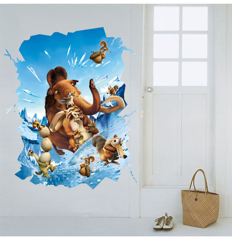 Ice Age Wall Sticker Removable Pvc Material Catton Theme Ornaments Kid S Room Animal Through Wallpaper Home Decor Mural In Wallpapers From