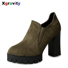 Hot 2017 New Round Toe Boots Elegant High Heeled Shoes Leisure Chunky Ankle Boots Comfortable Woman Casual Platform Boots S015