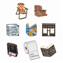 Book Sofa Pin Brooches Good Vibes Badges Read More Lapel Pins Funny Quote Jewelry Collection