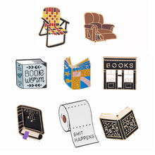 Book Sofa Pin Book Brooches Good Vibes Badges Read More Lapel Pins Funny Quote Jewelry Book Pins Collection(China)