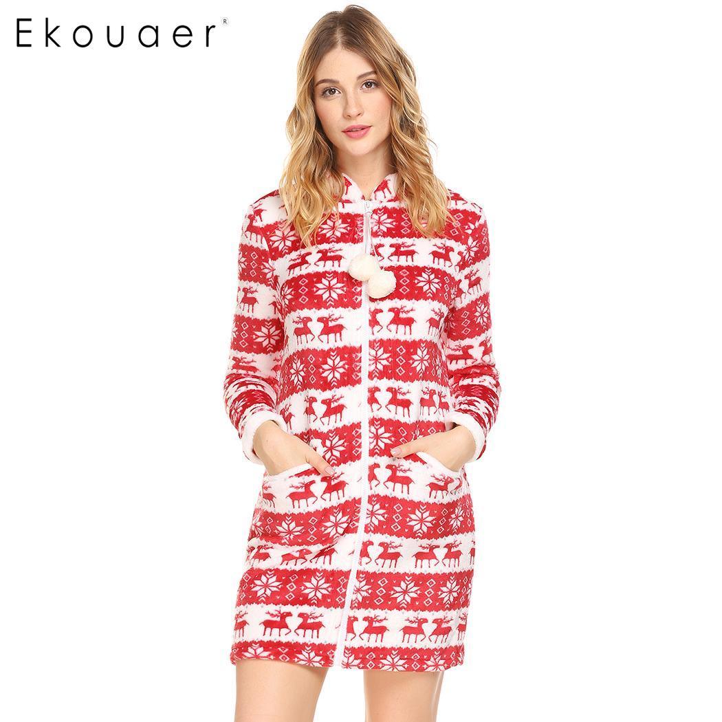 Detail Feedback Questions about Ekouaer Stand Nightwear Women Collar Long  Sleeve Nightgown Print Flannel Lounger House Dress Sleepwear Female  Nighties Dress ... f5ad2c6f2