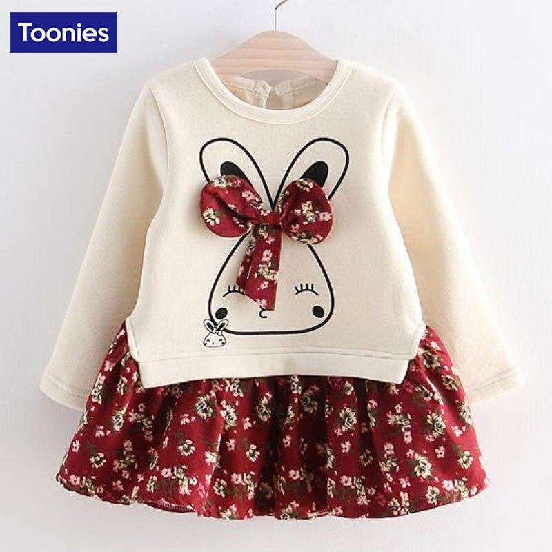 Hot Sale Girls Long Sleeve Dress Cute Rabbit and Flowers Printed 2018 Winter Autumn Baby Girl Dresses Princess Vestidos YY2234