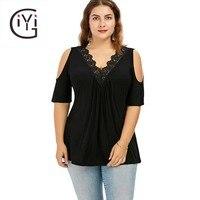 GIYI Plus Size 5XL Lace Trim V Neck Cold Shoulder Flowy Top Femme Lace Crochet Vintage