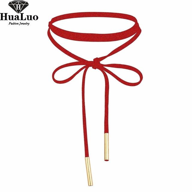 HUALUO New Fashion Sexy Red Choker Necklace Velvet Long Necklace For Women Girl