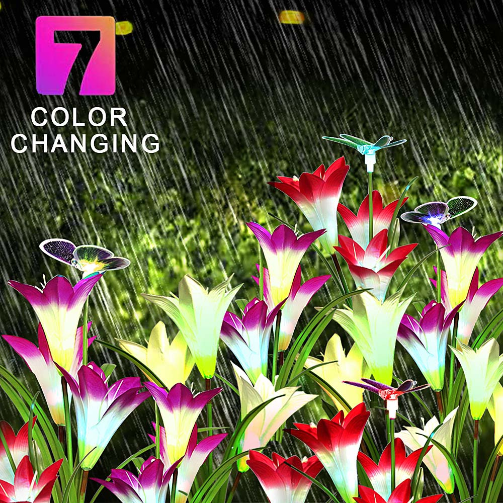 3 Pack LED Fairy Lights Outdoor Lighting Garden ButterflyDragonfly Flower Solar LED Light Decoration Holiday Xmas Wedding Party 7 Colours Change  (26)