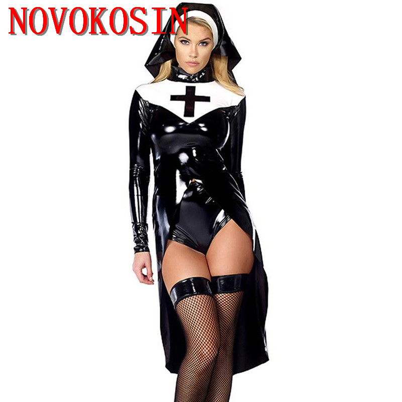 XB31 2019 Faux Leather Sexy Nun Costume Adult Women Cosplay With Black Hat For Halloween Sister Cosplay Party Costume